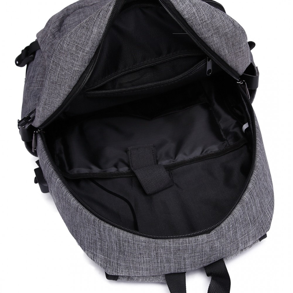 KONO šedý moderní elegantní batoh s USB portem UNISEX  285b5508bc