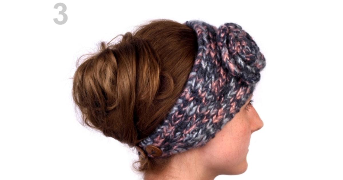 Pletená čelenka s květem  99175d4250