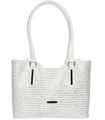 Bílá měkká elegantní kabelka se stříbrným potiskem písmen S729 f0fbbc132d8