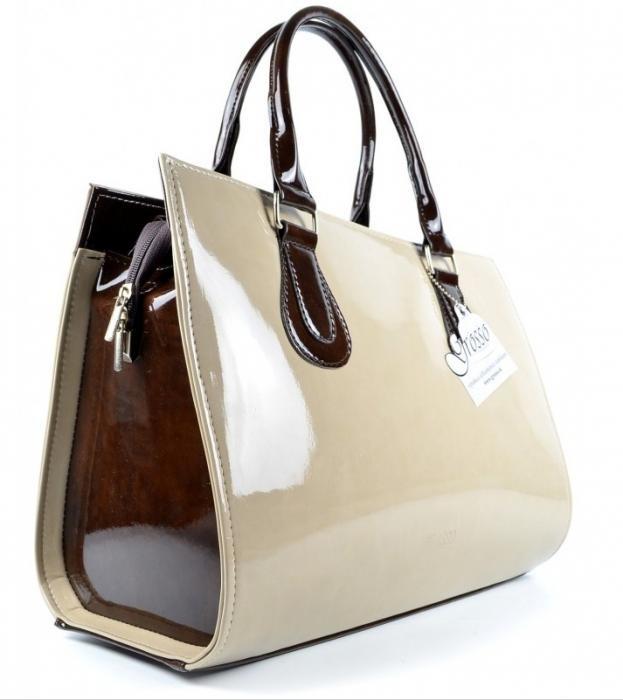 Elegantní dámská kabelka S61 béžovo - hnědá lakovaná
