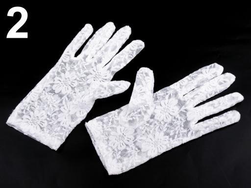 Stoklasa Společenské rukavice 21 cm krajkové - 2 bílá