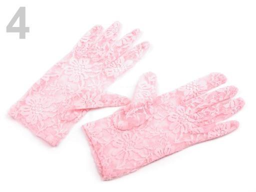 Stoklasa Společenské rukavice 21 cm krajkové - 4 růžová sv.