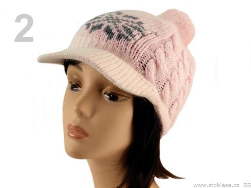 Stoklasa Čepice dětská BIBKA s kšiltem norský vzor (1 ks) - 2 Impatiens Pink