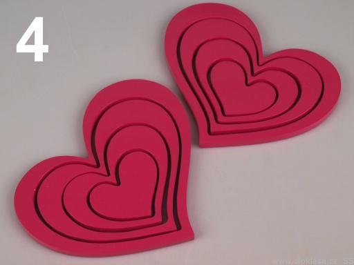 Stoklasa 3D dekorace SRDCE sada (1 sada) - 4 růžová neon