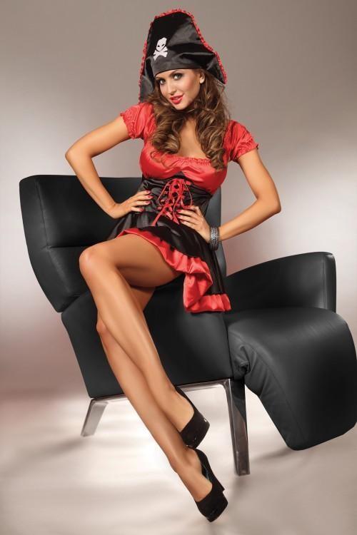 LivCo Corsetti Dámský kostým Nemesis - červeno-černá - L