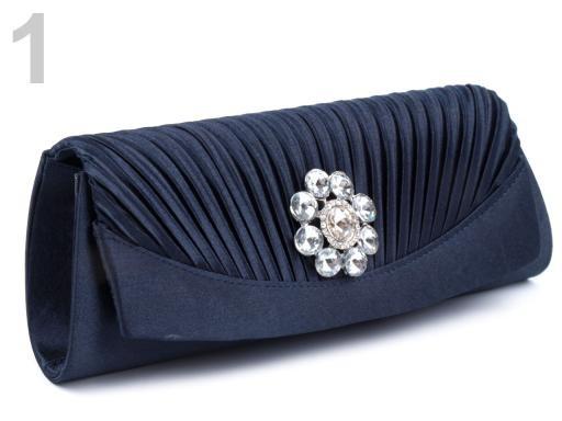 Stoklasa Kabelka - psaníčko 10x27cm s kamínkovou ozdobou - 1 modrá temná