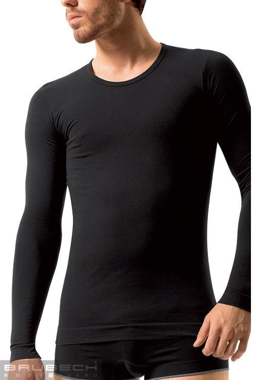 BRUBECK Pánské tričko LS 01120 T-SHIRT LONG SLEEVE black - černá - M