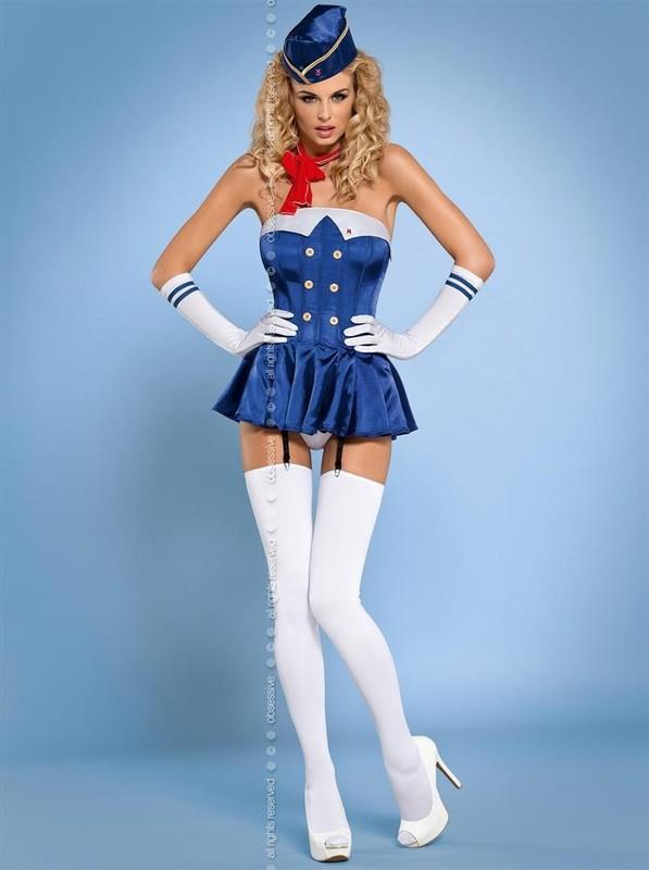 Obsessive Sexy kostým Stewardess corset - modrá - L/XL
