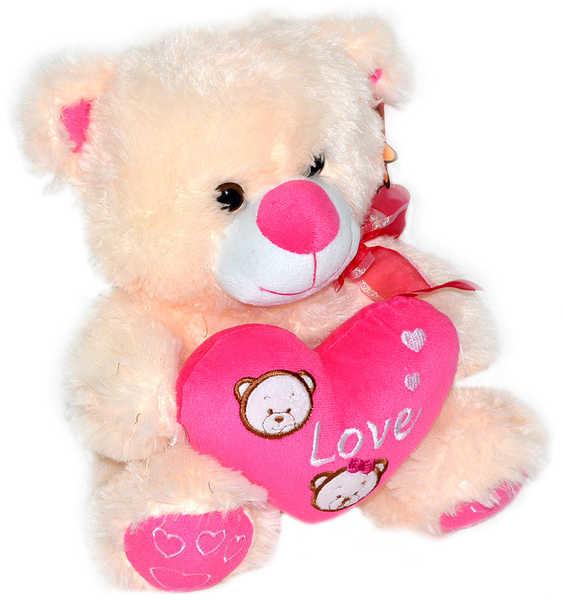 _Ostatní 1_ Plyšový medvídek se srdcem 30cm - s růžovým srdíčkem