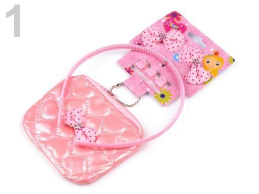 Stoklasa Dětská sada ozdoby do vlasů, peněženka - 1 růžová sv.