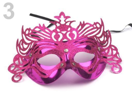 Stoklasa Karnevalová maska - 3 růžová výrazná