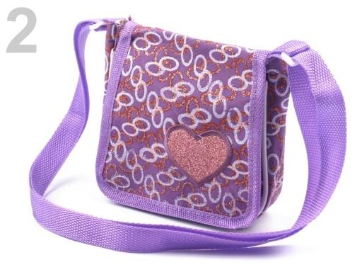 Stoklasa Taška dětská textilní 15x15cm se srdcem přes rameno - 2 fialková