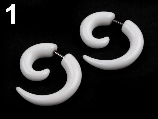 Stoklasa Náušnice falešný roztahovák - 1 bílá