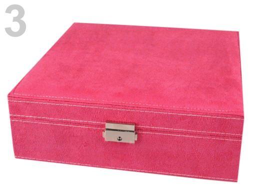 Stoklasa Šperkovnice 2 patra 8,5x26x26cm - 3 růžová malinová