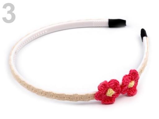 Stoklasa Čelenka s květy (1 ks) - 3 růžová malinová