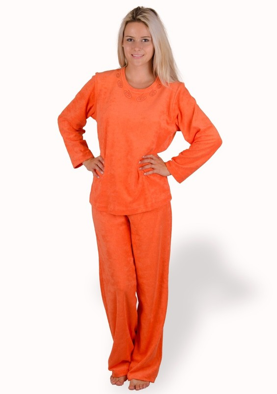 M-MAX Dámské froté pyžamo Felicja - 255/ oranžová tmavá - M