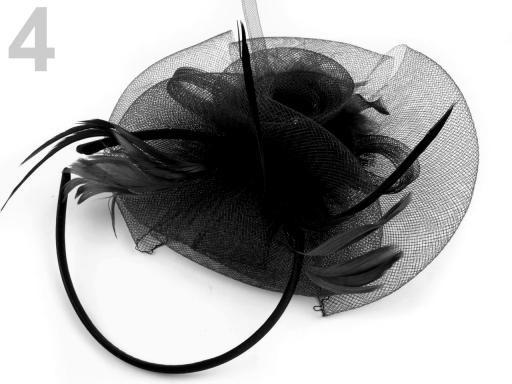 Stoklasa Fascinátor s peřím a čelenkou - 4 černá