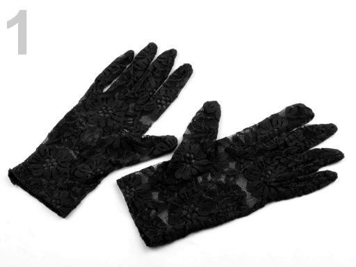 Stoklasa Společenské rukavice 21 cm krajkové - 1 černá