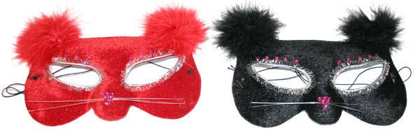 Rappa Maska oční kočka s peřím, 2 druhy - černá