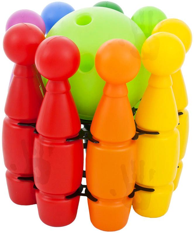 Mix hračky Kuželky s velkou bowlingovou koulí s otvory Sada v síťce PLAST - dle obrázku