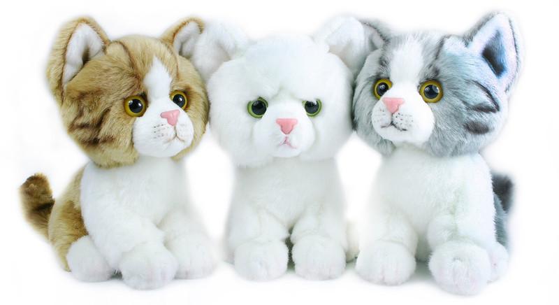 Rappa Plyšová kočka velká hlava 18cm, 3 barvy - šedá