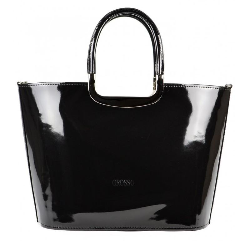 Grosso Luxusní kabelka S7 černá lakovaná