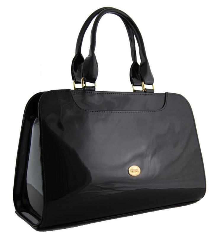 Menší černá lesklá kabelka do ruky S453 - dle obrázku