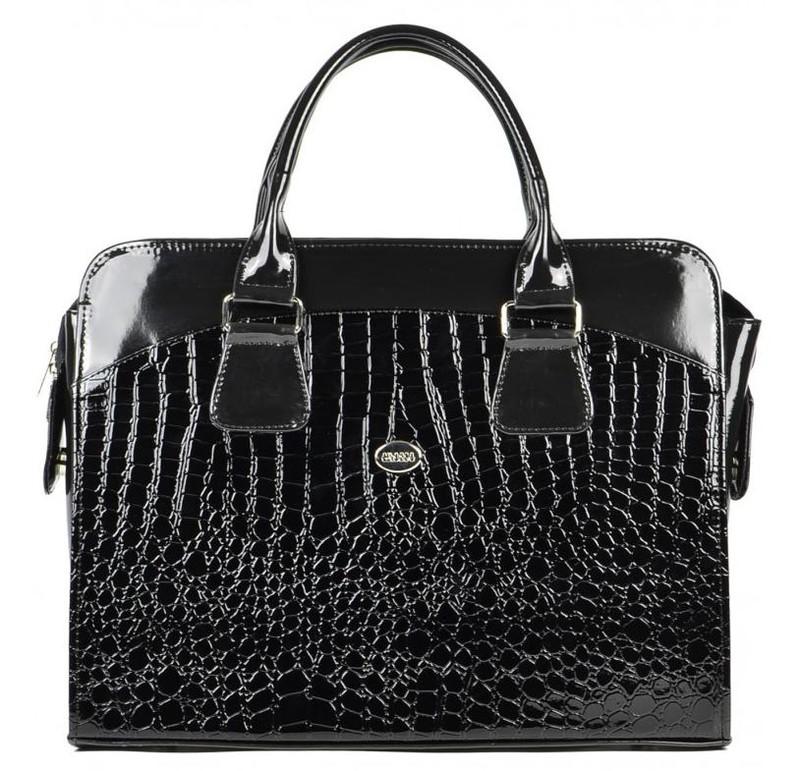 Dámská luxusní taška na notebook černý lak kroko ST01 - dle obrázku