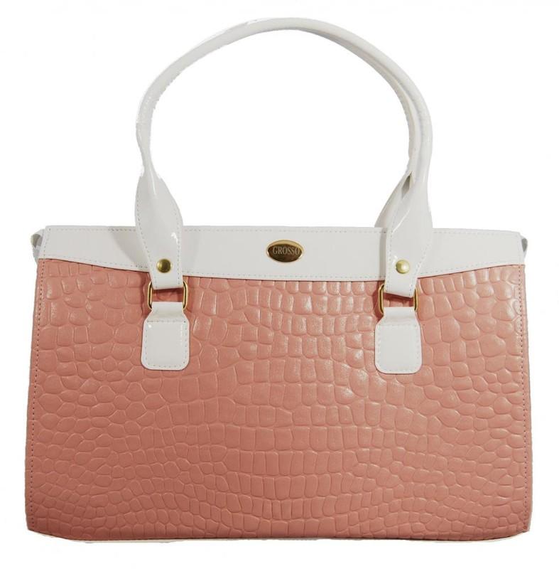 Jemná růžovo bílá kroko kabelka na rameno S305 - dle obrázku