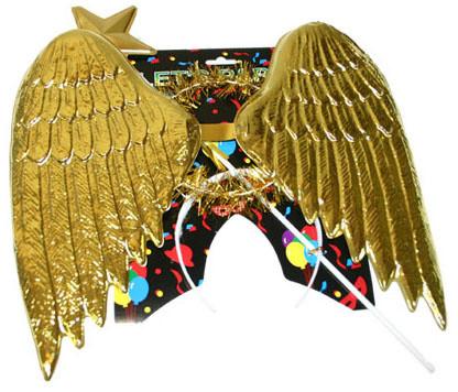 Rappa Křídla andělská plastová, svatozář - zlatá