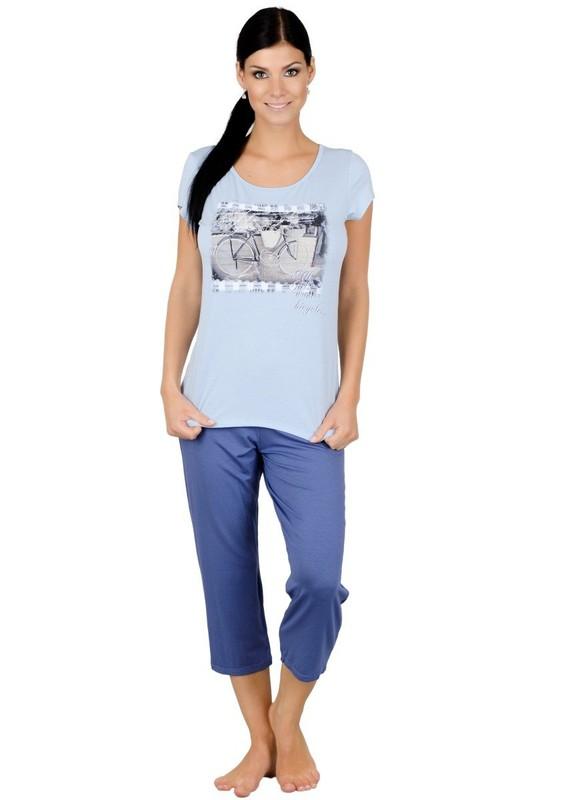 Fabio Dámské pyžamo s capri kalhotami Kolo - 505/ modrá světle - S