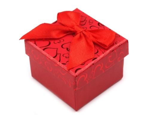 Stoklasa Krabička na šperky 5x5 cm s mašlí (1 ks) - červená