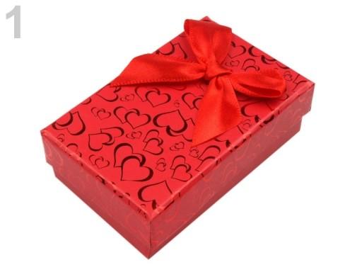 Stoklasa Krabička na šperky 5x8 cm s mašlí - 1 červená