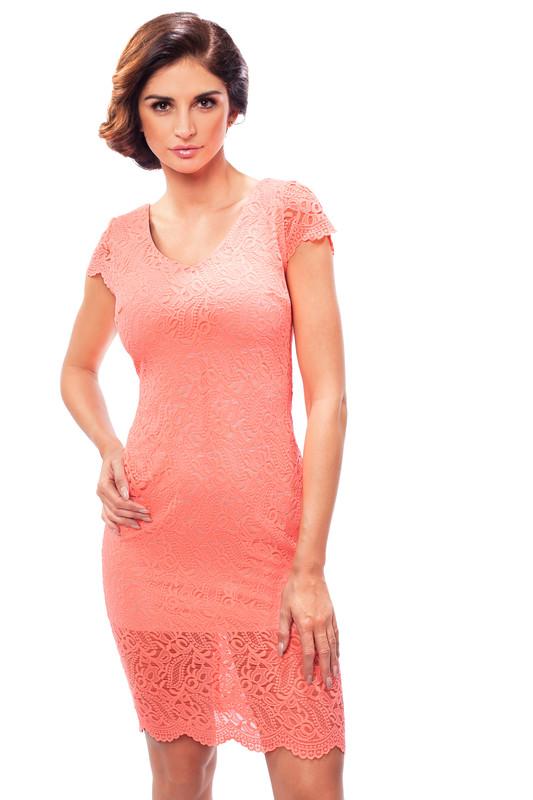 Enny Letní krajkové šaty lososové 190041 - oranžová - 38