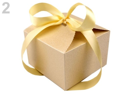 Stoklasa Papírová krabička 8,5x12,5x12,5 cm se stuhou - 2 perleť krémová
