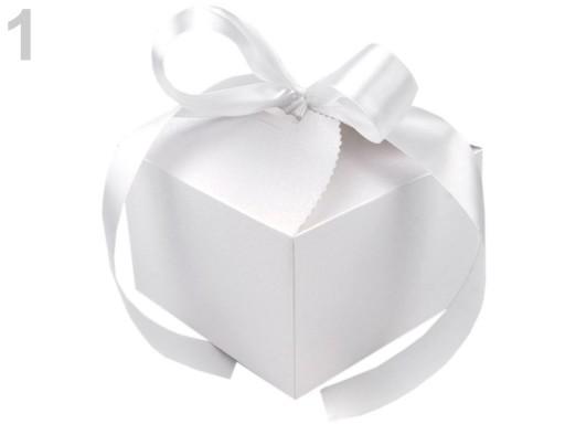 Stoklasa Papírová krabička 8,5x12,5x12,5 cm se stuhou - 1 bílá perleť