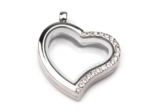 Stoklasa Přívěsek medailon 28x28 mm srdce s kamínky - platina