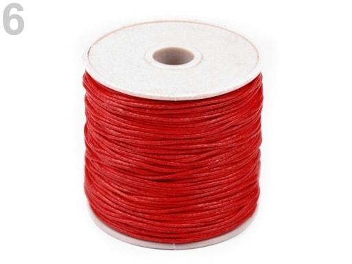 Stoklasa Šňůra bavlněná Ø0,8 mm voskovaná - 6 červená sv.