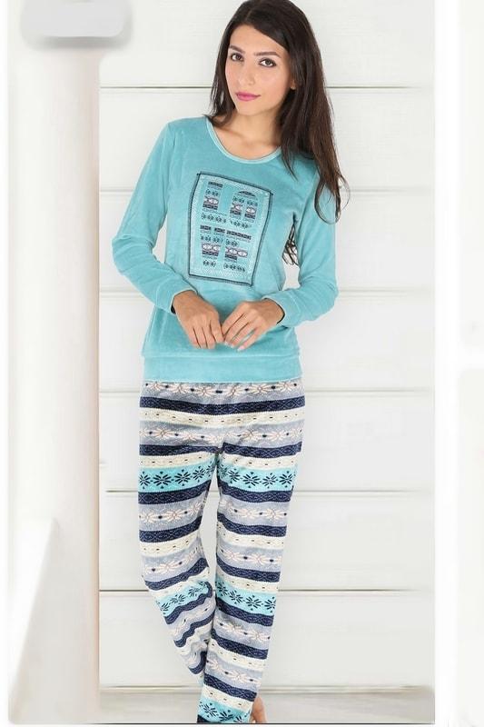 Vienetta Secret Dámské pyžamo - domácí úbor Dita petrolejová - dle obrázku - S