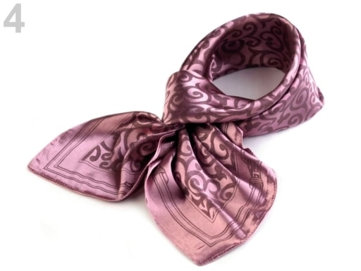 Stoklasa Saténový šátek 93x93 cm s ornamenty - 4 starorůžová