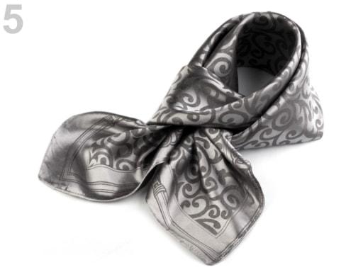Stoklasa Saténový šátek 93x93 cm s ornamenty - 5 stříbrná