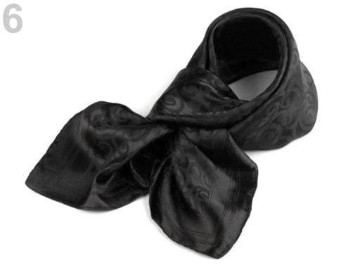 Stoklasa Saténový šátek 93x93 cm s ornamenty - 6 černá