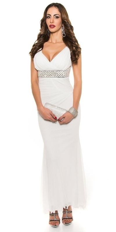 Koucla Bílé dlouhé večerní šaty in-sat1208wh - dle obrázku - L