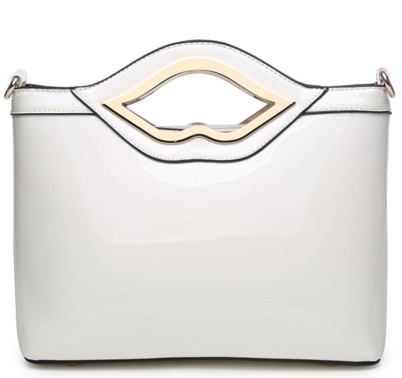 Moda Handbag Bílá lakovaná kabelka do ruky A34206