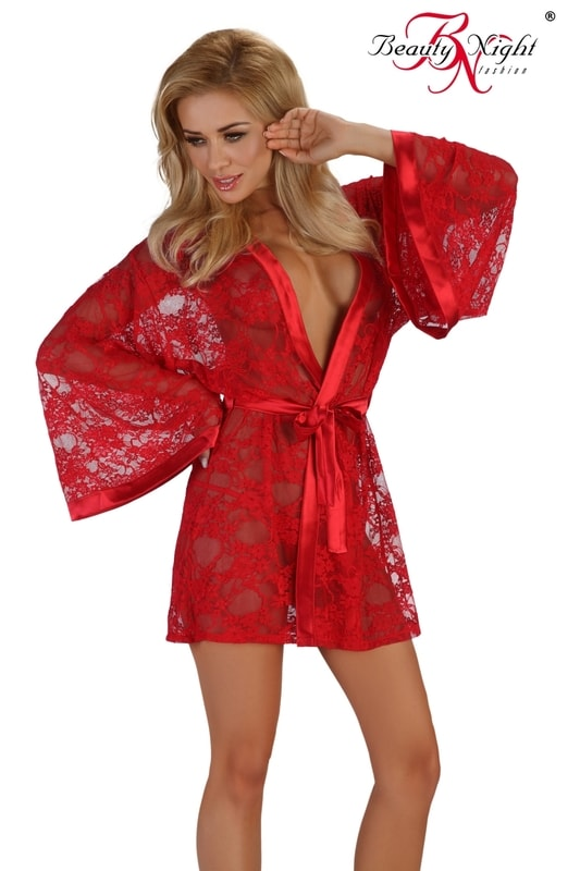 Beauty Night Fashion Erotický župan Paulette red - červená - S/M