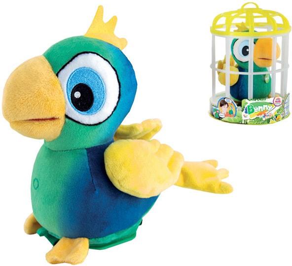 _Ostatní 1_ Benny papoušek plyšový 15cm na baterie opakující slova v kleci