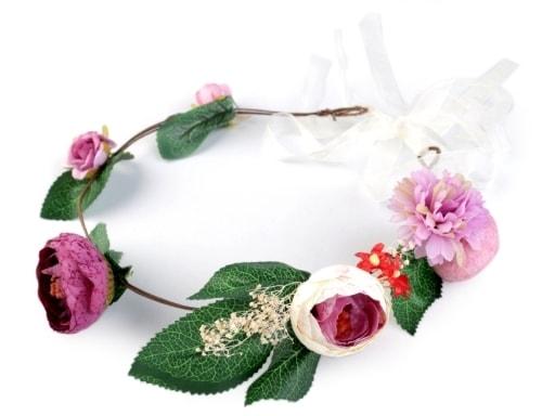 Stoklasa Květinový věneček do vlasů - fialová tm.