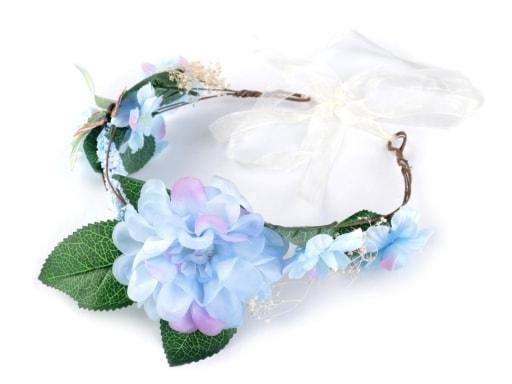 Stoklasa Květinový věneček do vlasů - modrá ledová