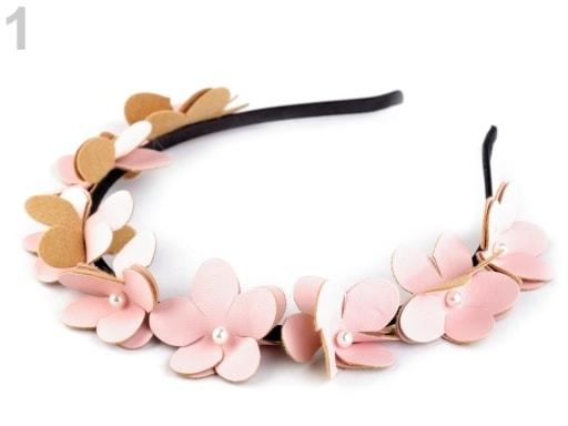 Stoklasa Čelenka s květy a perlami - 1 růžová stř.