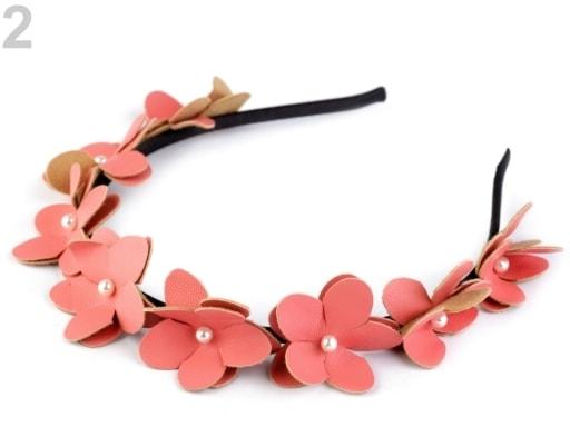 Stoklasa Čelenka s květy a perlami - 2 růžová korálová